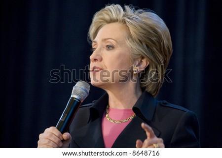 Northridge, CA January 17, 2008:  Presidential candidate Senator Hillary Clinton at a rally at California State University Northridge (CSUN). - stock photo