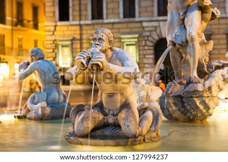 Northward view of the Piazza Navona with the fontana del Moro (the Moor Fountain) Rome, Italy - stock photo