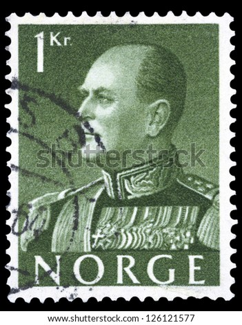 "NORWAY - CIRCA 1959: A stamp printed in Norway shows portrait of King King Olav V, without inscriptions, from the series ""King Olav V"", circa 1959 - stock photo"