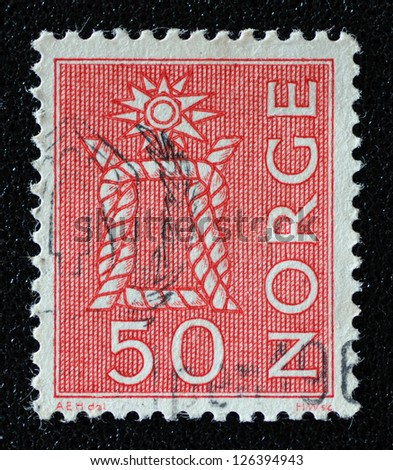 NORWAY - CIRCA 1968: A stamp printed in the Norway, shows Boatswain's knot, circa 1968 - stock photo