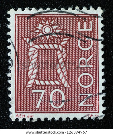 NORWAY - CIRCA 1970: A stamp printed in the Norway, shows Boatswain's knot, circa 1970 - stock photo