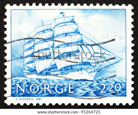 NORWAY - CIRCA 1981: a stamp printed in the Norway shows Training Ship Christian Radich, circa 1981 - stock photo