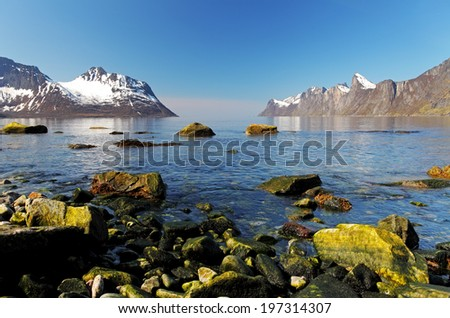 Norway fjord in island Senja at day - stock photo