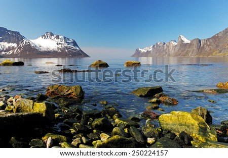 Norway fjord in Senja, Norway - stock photo