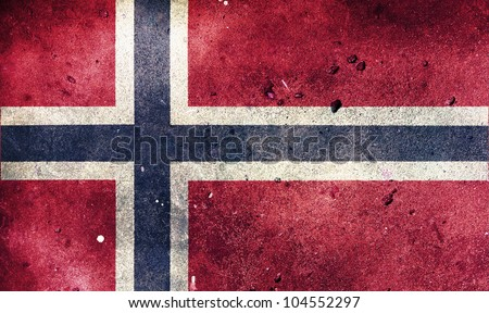 Norway flag painted on old wall background - stock photo