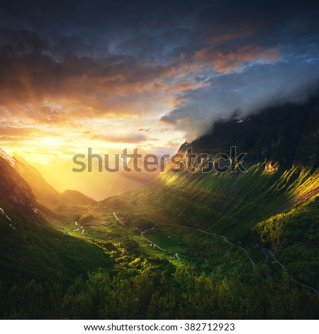 Norway - Geirangerfjord - most famous fjord of country - nature background. - stock photo