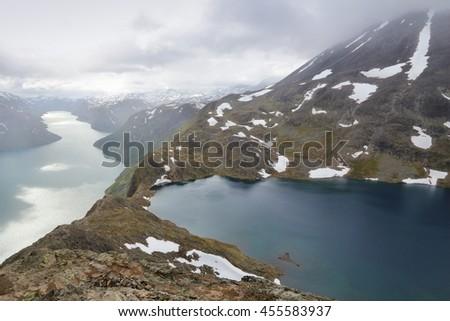 Norway landscape - Jotunheimen National Park. Besseggen mountain ridge trail between two lakes (Gjende and Bessvatnet). - stock photo