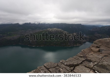 Norway, Lysefjord / Lysefjord or Lysefjorden is a fjord located in the Ryfylke area in southwestern Norway. - stock photo