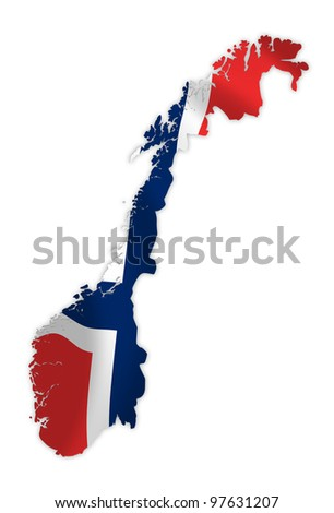 Norway map on a waving flag - stock photo