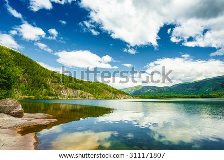 Norway Nature Fjord, Summer Seson. Sunny Day, Landscape With Mountain, Pure Water Lake, Pond, Sea - stock photo