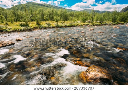 Norway Nature River. Sunny Summer Day, Landscape With Mountain, Pure Cold Water River, Pond - stock photo