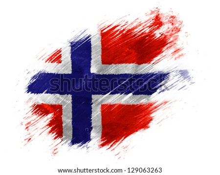 Norway. Norwegian flag painted with brush on white background - stock photo