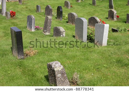 Norway, Sogn of Fjordane county. Cemetery in Olden. - stock photo