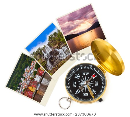 Norway travel images and compass - nature and architecture concept (my photos) - stock photo