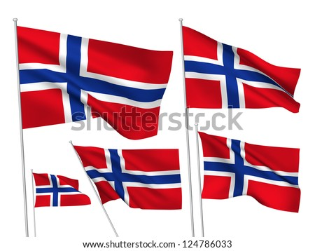 Norway vector flags. A set of 5 wavy 3D flags created using gradient meshes. - stock photo