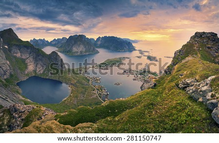 Norway. View from Reinebringen at Lofoten Islands, located in Norway, during summer sunrise. - stock photo