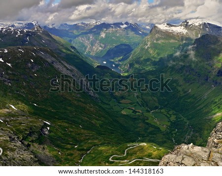 Norway-View from the Dalsniba to Geirangerfjorden - stock photo
