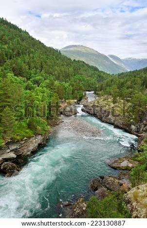 Norway waterfall in a summer. - stock photo