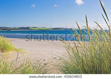 Norwegian beach on a sunny day - stock photo