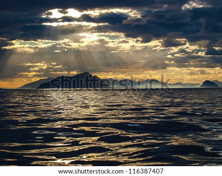 Norwegian coast landscape - stock photo