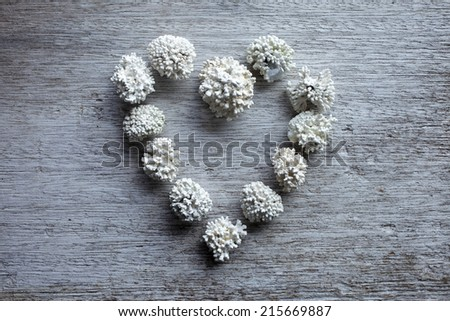 Norwegian corals in heart form on old gray plywood.  - stock photo