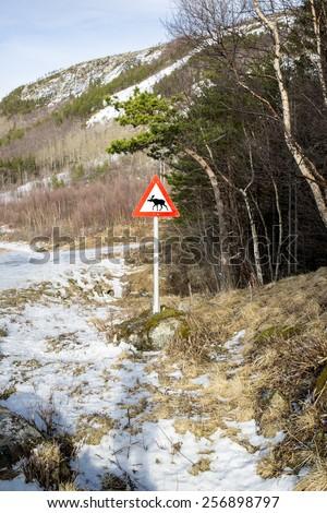 Norwegian elk warning road sign - stock photo