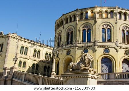Norwegian parliament Storting Oslo, Norway - stock photo