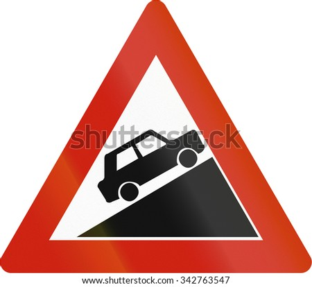 Norwegian road warning sign - Steep uphill grade. - stock photo