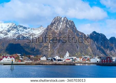 Norwegian town Svolvaer on Lofoten islands in sunny day - stock photo