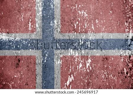 Norwegian vintage flag. Texture, background - stock photo