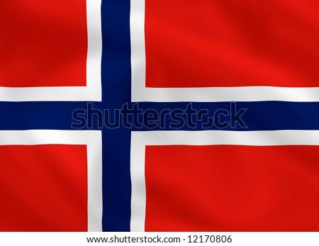 Norwegian waving flag - stock photo