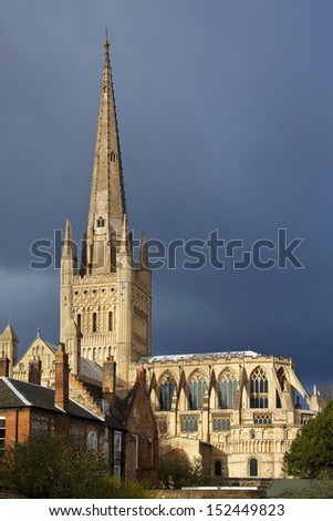 Norwich Cathedral in the city of Norwich in the United Kingdom - stock photo