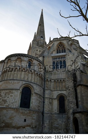 Norwich Cathedral Vertical - stock photo