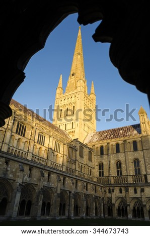 Norwich Gothic cathedral - stock photo