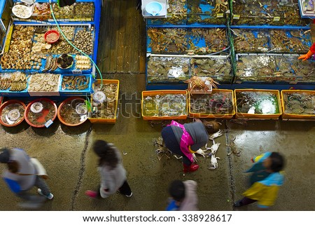 Noryangjin Fisheries Wholesale Market interior - stock photo