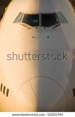 Nose of a big aircraft - stock photo