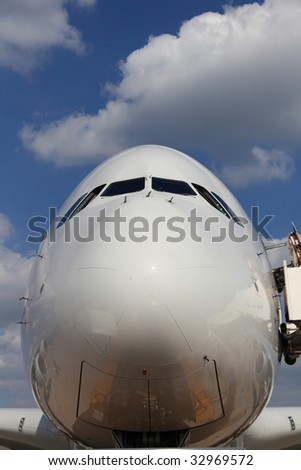 Nose of Airliner frontal view - stock photo