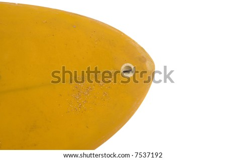 Nose of yellow surfboard isolated - stock photo