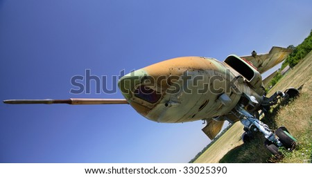 Nose old military aircraft - stock photo