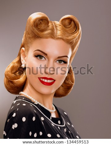 Nostalgia. Styled Smiling Woman with Retro Golden Hair Style. Nobility - stock photo