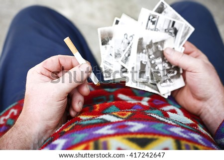 nostalgic man - stock photo