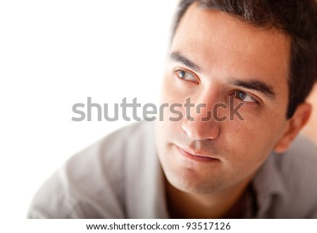 Nostalgic man looking to the side - isolated over a white background - stock photo