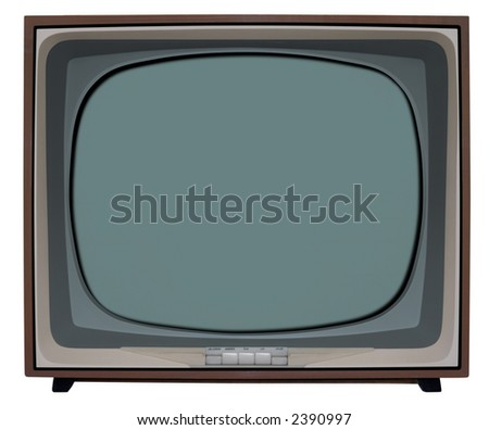 Nostalgic TV with clipping path inside and outside - stock photo