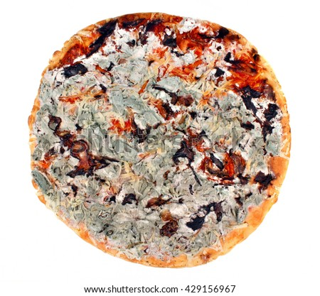 Not fresh, moldy pizza on a white background - stock photo