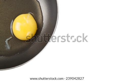 not roasted egg in a frying pan  with the sharpness on the yolk - stock photo