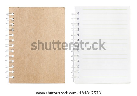 Note book on white background. - stock photo