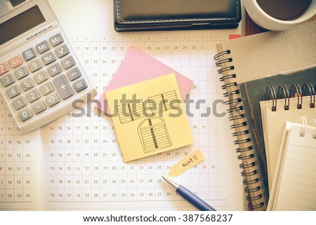 note book on wooden table with  vintage color concept - stock photo