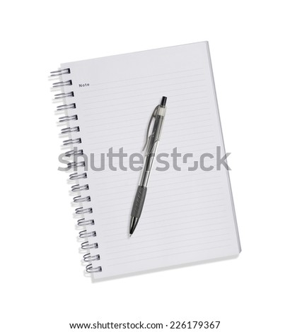 Note book with pen isolated on white - stock photo