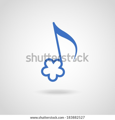 Note in shape of color flower. Musical icon with concept of summery merry melody. Decorative sign for print, web - stock photo