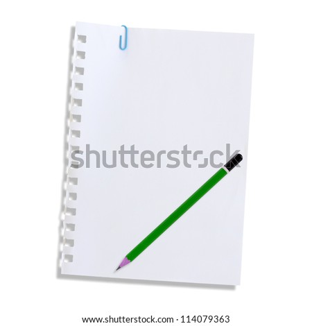 Note paper and pencil on a white background. - stock photo